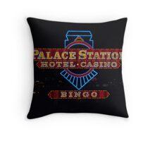 Palace Station Casino Sign at night, Las Vegas, Nevada Throw Pillow