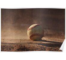 Baseball on home plate Poster