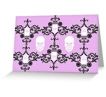 Skull damask in pink  Greeting Card
