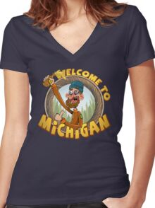 Pure Michigan Women's Fitted V-Neck T-Shirt
