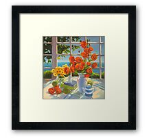 The red poppies and green apples Framed Print