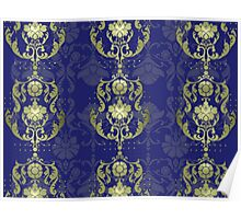 Damask flowers with blue and gold Poster