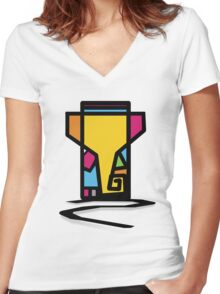 Abstract Art Of Lord Ganesha Design Women's Fitted V-Neck T-Shirt