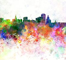 Hartford skyline in watercolor background by paulrommer