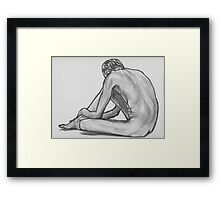 Seated Male Nude Framed Print