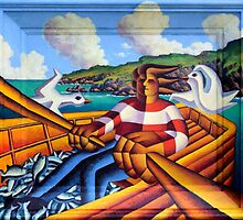Fisherman in boat with gulls  3   Painted on to frame by Alan Kenny