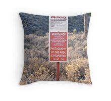 Photography Prohibited Throw Pillow