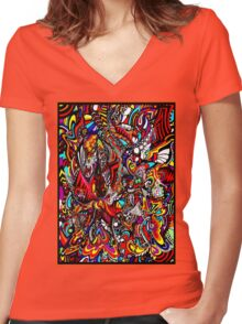 COLOURFUL TRIP Women's Fitted V-Neck T-Shirt