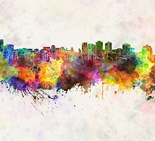 Halifax skyline in watercolor background by paulrommer