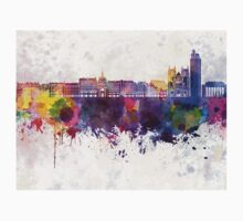 Nantes skyline in watercolor background One Piece - Short Sleeve
