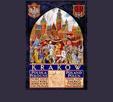 Poland Krakow Vintage Travel Poster Restored Unisex T-Shirt
