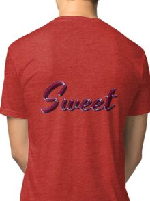Sweet - Faux Pink Colored Turquoise Text Effect - Purple Outline Tri-blend T-Shirt