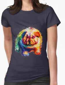 Cute Rainbow Colored Puppy Womens Fitted T-Shirt