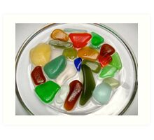 Coloured Beach Glass  Art Print