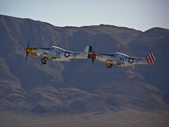 Pair of P-51 Mustangs take off by Henry Plumley