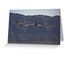 Pair of P-51 Mustangs take off Greeting Card