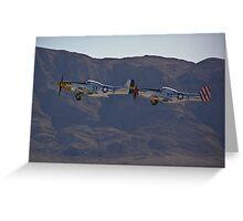 Pair of P-51 Mustangs take off Greeting Card