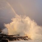 Sunset, Big Surf and a Rainbow by Randy Richards