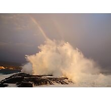 Sunset, Big Surf and a Rainbow Photographic Print
