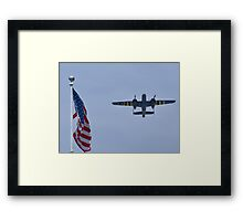 "B-25 Mitchell takes off ""next"" to the flag Framed Print"