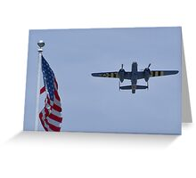 """B-25 Mitchell takes off """"next"""" to the flag Greeting Card"""