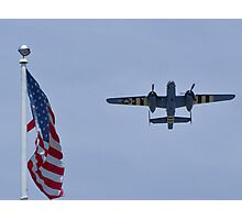 "B-25 Mitchell takes off ""next"" to the flag Photographic Print"