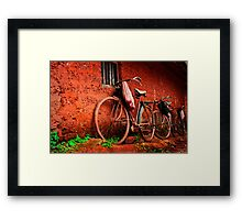 resting bicycles Framed Print