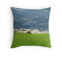 Land Rock and Sea Throw Pillow