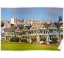 Painted Ladies in Miniature (Tilt Shift) Poster