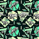 Neon Skeleton Dinosaur Pattern by chobopop