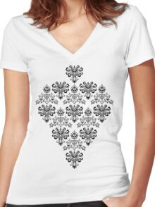 Owl, Ghost and Cyclops Monster Pattern Art Women's Fitted V-Neck T-Shirt