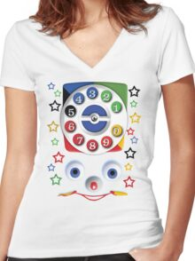 Smiley Toys Dial Phone Women's Fitted V-Neck T-Shirt