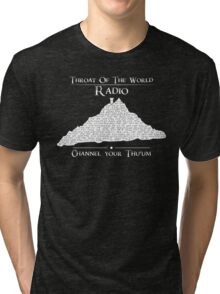 Throat of the World Radio - White on Black Tri-blend T-Shirt