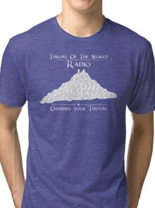 Throat of the World Radio - White on Black Tri-blend T-Shirt