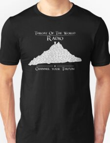 Throat of the World Radio - White on Black T-Shirt