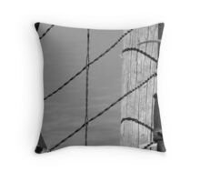 Rustic Farm Gate - Greyscale Throw Pillow
