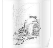 Snail climbing a mushroom Poster