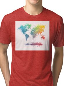 World Map splash 2 Tri-blend T-Shirt