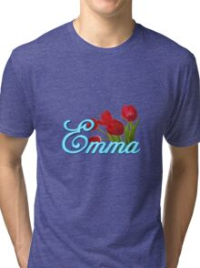Emma With Red Tulips and Neon Blue Script Tri-blend T-Shirt