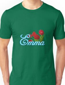 Emma With Red Tulips and Neon Blue Script Unisex T-Shirt