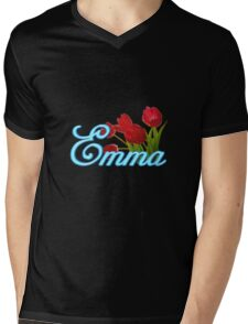 Emma With Red Tulips and Neon Blue Script Mens V-Neck T-Shirt