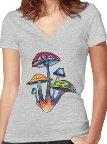 Cluster of Colored Shrooms Women's Fitted V-Neck T-Shirt