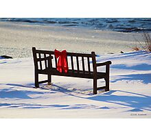 Red Bow White Snow Photographic Print