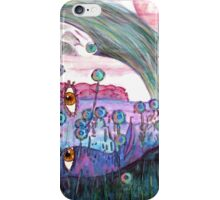 Girl in a Field of Blue Flowers- Drawing iPhone Case/Skin