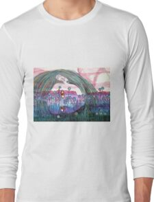 Girl in a Field of Blue Flowers- Drawing Long Sleeve T-Shirt