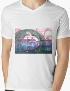 Girl in a Field of Blue Flowers- Drawing Mens V-Neck T-Shirt
