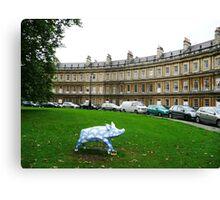 Blue pig in Bath, UK Canvas Print