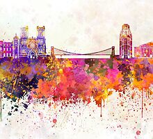 Bristol skyline in watercolor background by paulrommer
