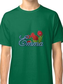 Emma With Red Tulips and Cobalt Blue Script Classic T-Shirt
