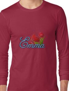 Emma With Red Tulips and Cobalt Blue Script Long Sleeve T-Shirt